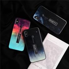 Модный чехол для телефона с кольцом для iPhone XS Max XR X 8 7 6 6s plus, тонкая задняя крышка, звездное небо, 9 H, закаленное стекло, Kickstand coque Capa