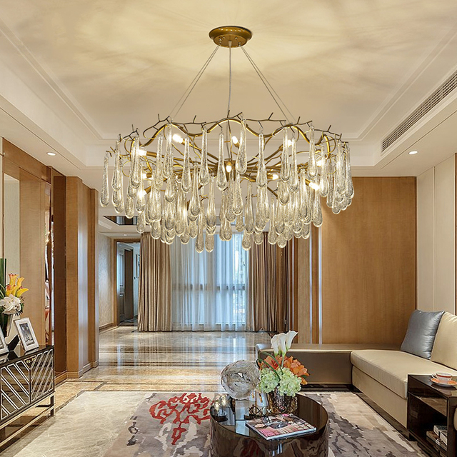 modern luxury ironbubble crystal chandeliers 6915 lights pendant lamps decorative lighting living - Decorative Lamps For Living Room