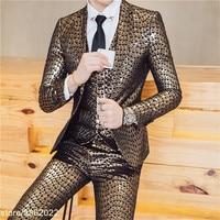2018 Для мужчин s вечерние костюмы золотой пиджаки Терно Masculino Slim Fit Ночной клуб наряды DJ сценический костюм блестящие костюмы Для мужчин корол