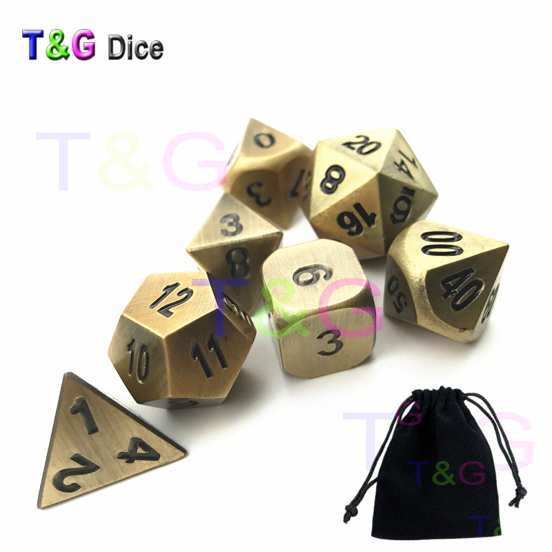 Creative RPG Metal Dice 7pcs/set of  D4 D6 D8 D10 D12 D20 D% x A Black Dice Bag for DND Board Game Player /Entertainment