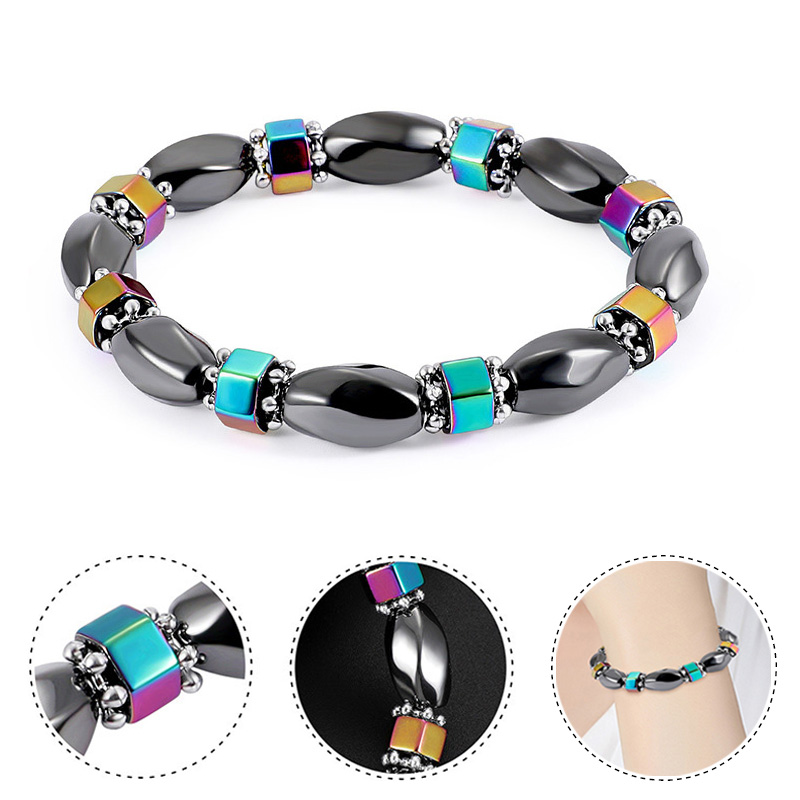 Elastic Stretchable Magnetic Therapy Black Hematite Gemstone Bracelet for Relif Fatigue  ...