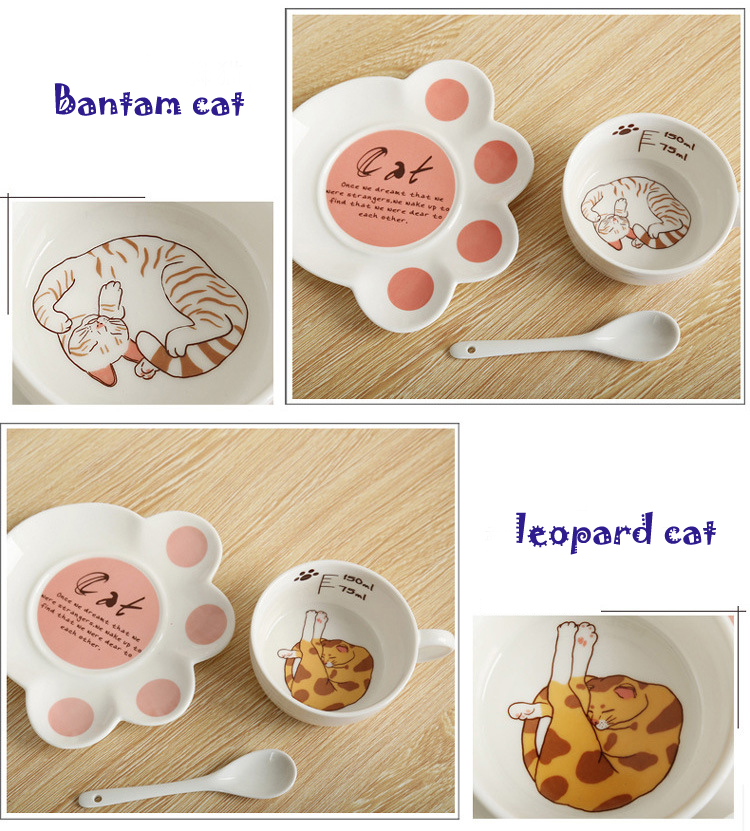 Cartoon Cute Cat Mug Cup Set Creative Milk Tea Drink Breakfast Ceramic Cups Plates Coffee Animal Cup Heat-resistant Lovely Gift (6)