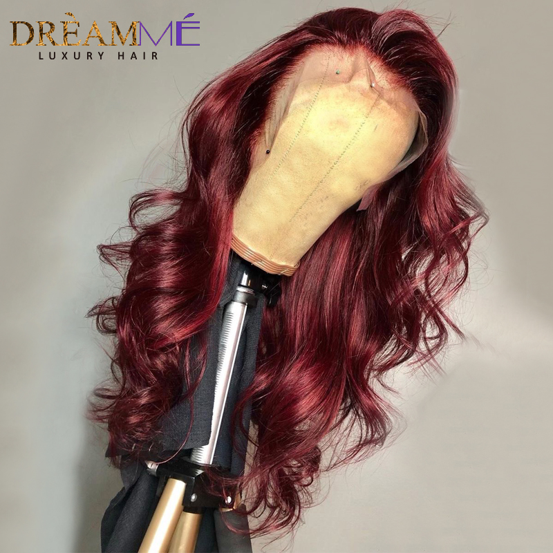 Image 4 - Red Body Wave Lace Front Human Hair Wig Preplucked Ombre Brazilian Burgundy Wigs Remy 13X6 Deep Part Frontal Wig For Black Women-in Human Hair Lace Wigs from Hair Extensions & Wigs