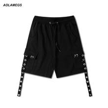 Aolameg мужчин хип-хоп шорты Летняя мода High Street Скейтборд Шорты-шаровары гладить кольцо лямки Дизайн танцы короткие штаны