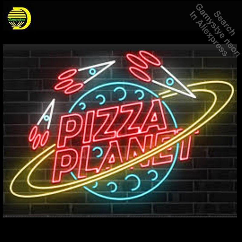 Enseigne au néon sur mesure PIZZA PLANET ampoules au néon salle de loisirs Tube en verre véritable fabriqué à la main lampe de nuit professionnelle 31X24 pouces