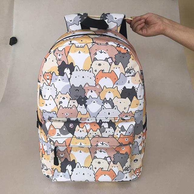 Cute Dog Printed Zippered Backpack
