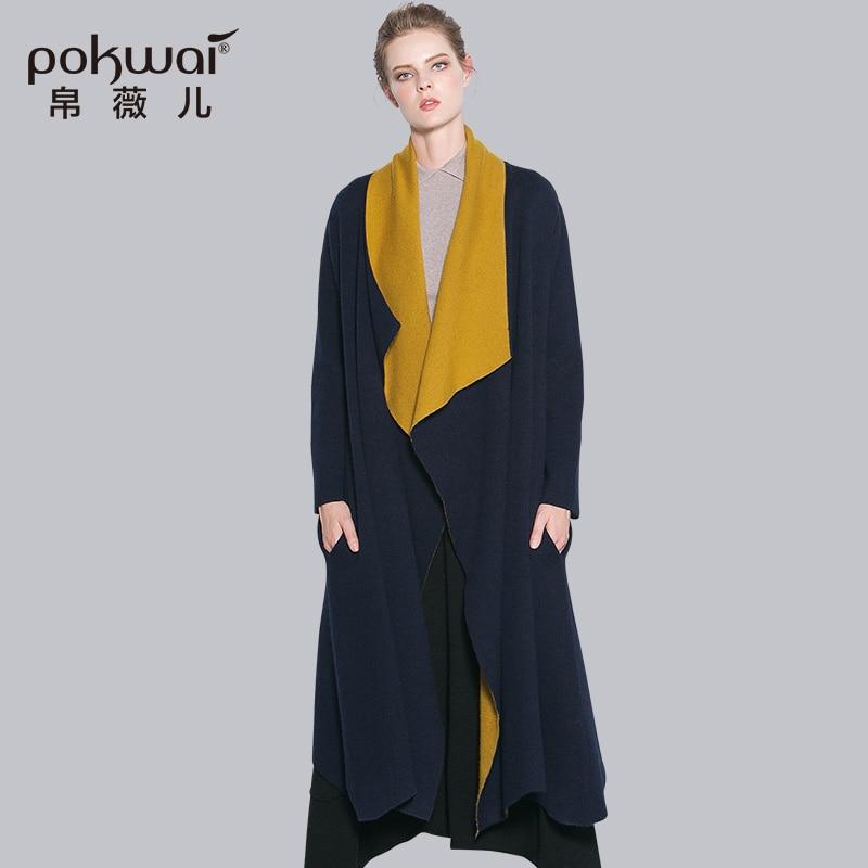 Pokwai Роскошные Качество свободные длинные трикотажные Для женщин свитер Кардиганы для женщин Осенняя одежда 2016 года зима с длинным рукавом