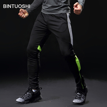 BINTUOSHI Men Running Pants Soccer Training With Pocket Football Trousers Jogging Fitness Workout Sport