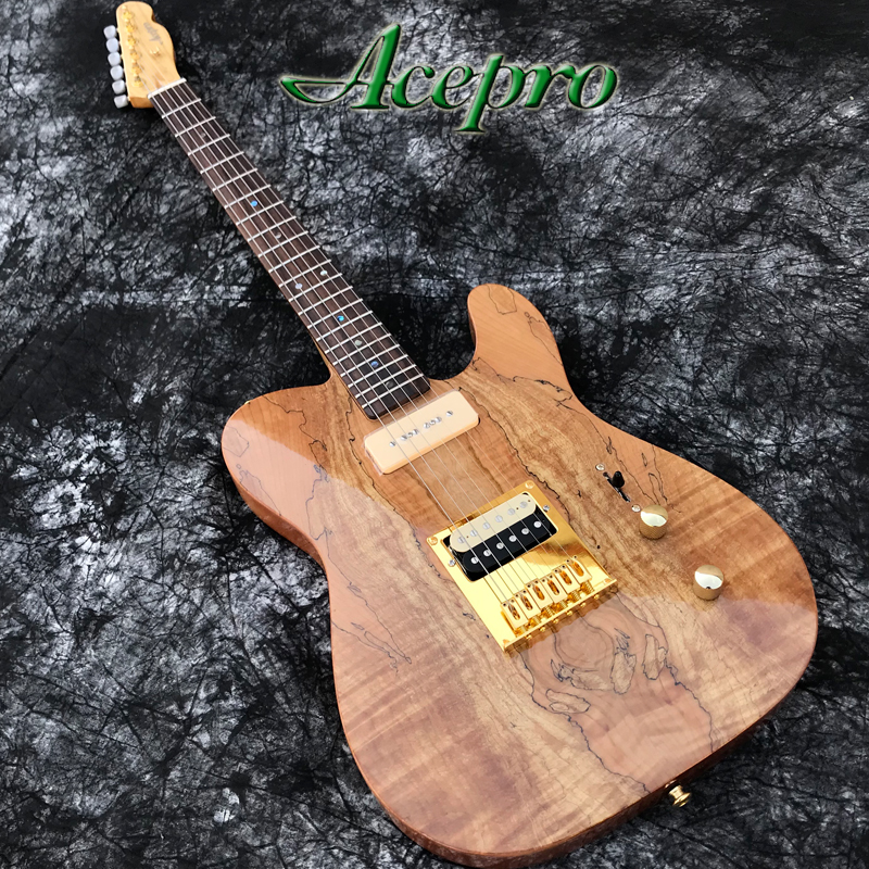 In Stock ACEPRO Electric guitar 2 piece Mahogany w Natural Spalted Maple Abalone dots inlay Gold