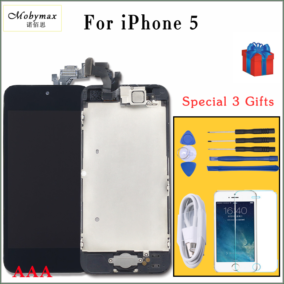 Mobymax retina display Für iPhone5 6 LCD Touch Screen Digitizer Komplette Montage mit front kamera + sensor flex + home taste