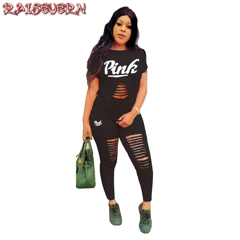 RAISEVERN Pink Letter Print Tracksuits Women Two Piece Set Street Tshirt Tops And Jogger Suits Casual 2pcs Hollow Black Outfits