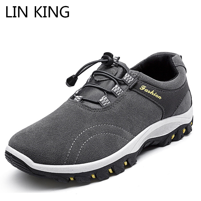 LIN KING Spring Autumn Men Ankle Boots Thick Sole Round Toe Short Work Boots Anti Skid Outdoor Trains Climbing Shoes For Male цена 2017