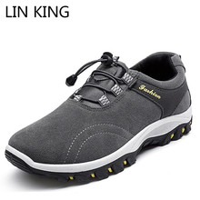 LIN KING Spring Autumn Men Ankle Boots Thick Sole Round Toe Short Work Boots Anti Skid Outdoor Trains Climbing Shoes For Male