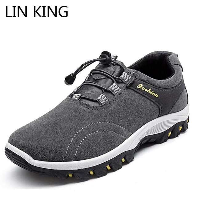 LIN KING ฤดูใบไม้ผลิฤดูใบไม้ร่วงผู้ชายรองเท้าบูทข้อเท้าหนารอบนิ้วเท้าสั้นทำงาน Anti Skid รถไฟปีนเขารองเท้าสำหรับชาย