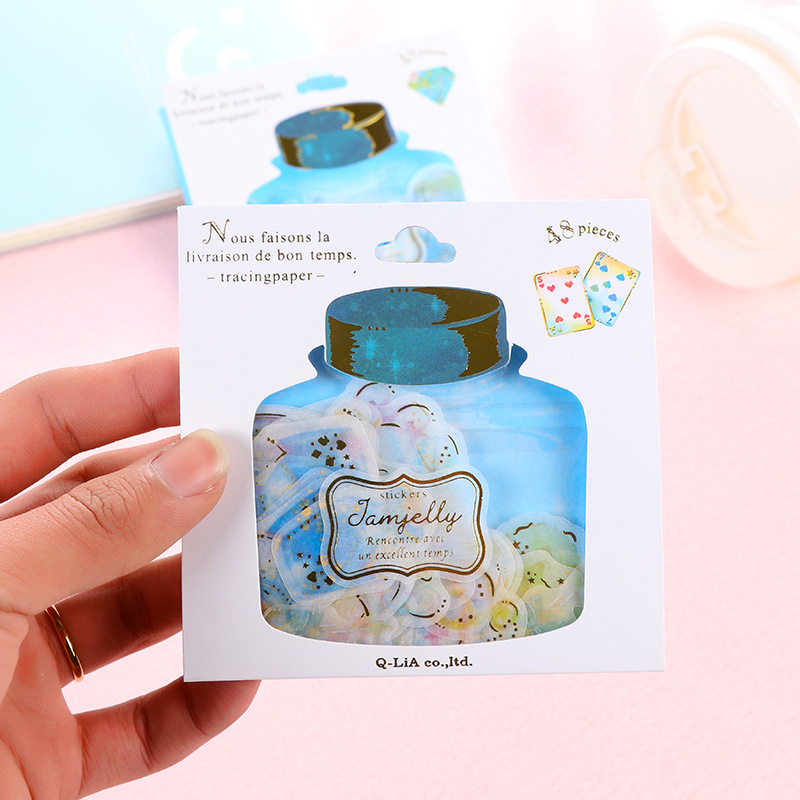 48 Pcs/pack Lovely Drift Bottle Hot Stamping Stickers Cute Cartoon PVC Stickers For Diary Gold Foil Scrapbooking DIY PVC Sticker