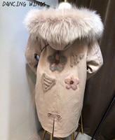Back Mink Fur Flowers Embroidery Women Winter Jacket Coat Detachable Rex Rabbit Fur Liner Long Real Fur Parka