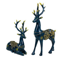 High Quality 2Pcs Deer Resin Statues Home Decor Sculpture Modern Animal Ornaments Wedding Gift Home Cabinet Decor