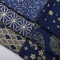 Vintage diy handmade tecido azul bonito 100% algodão metros de tecido de impressão kimono 2017 nova alta moda artesanal diy