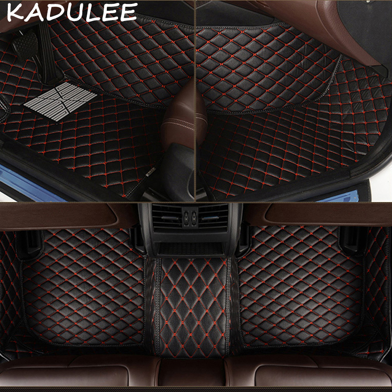 KADULEE PU leather car floor mats for Mitsubishi Outlander 2003 2016 2017 2018 Custom auto foot Pads automobile carpet cover