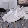 New 2016 Summer Autumn Mesh Breathable Female Platform Shoes Solid Women Casual Shoes Black Silver Slip on HSE30