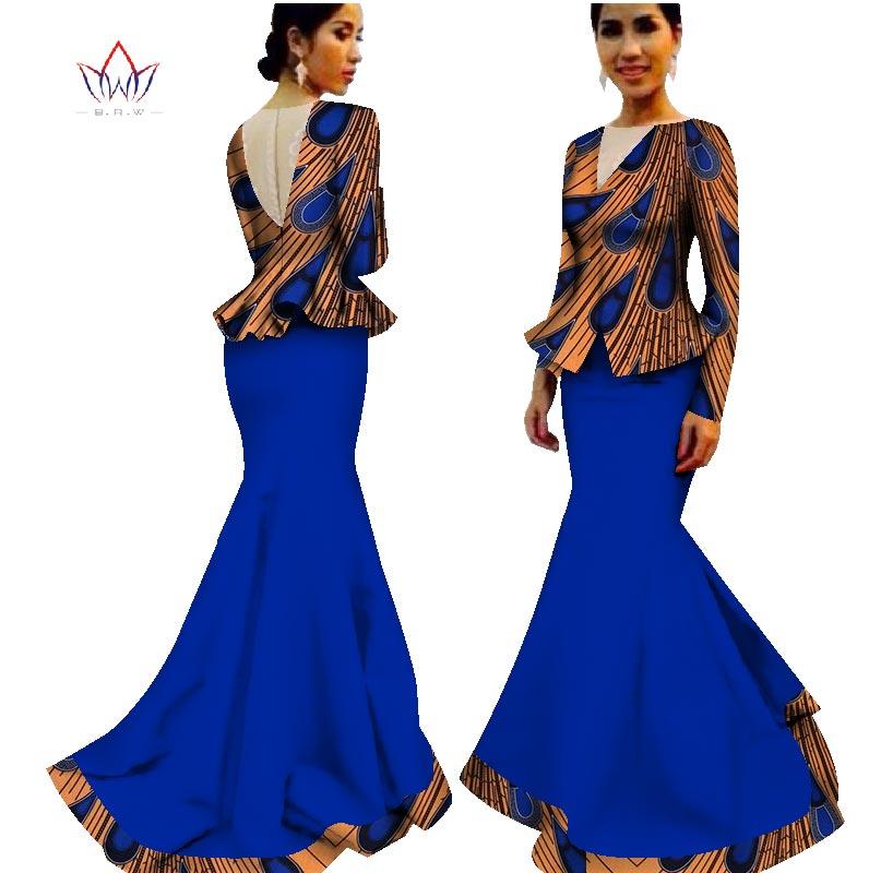 põrandapikkus traditsiooniline Aafrika riietusriided Summer Two Piece Plus Size Dashiki Naiste v-kaeluse seelikomplekt 7xl WY1589