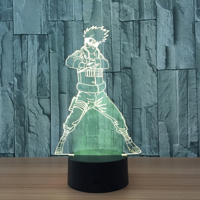 Naruto Action Figure Kakashi 3D LED Night Light Table Lamp