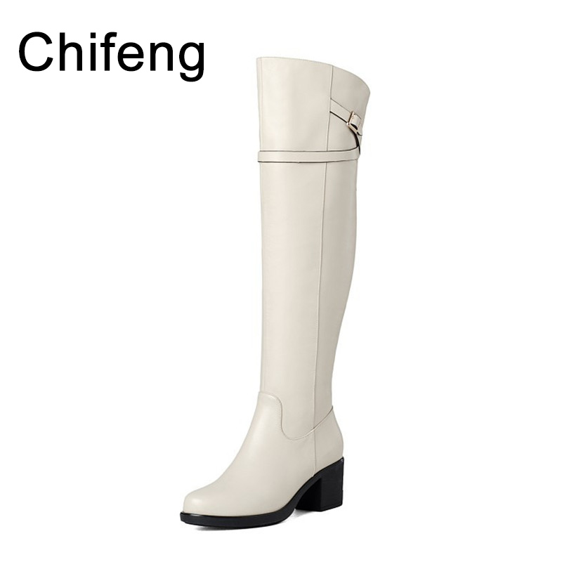 women boots over the knee winter woman high heel shoes womens shoe genuine leather white and  black boot fashion 2017 winter boots women over the knee boots genuine leather boots thigh high boots female 2017 heel fashion black shoes woman