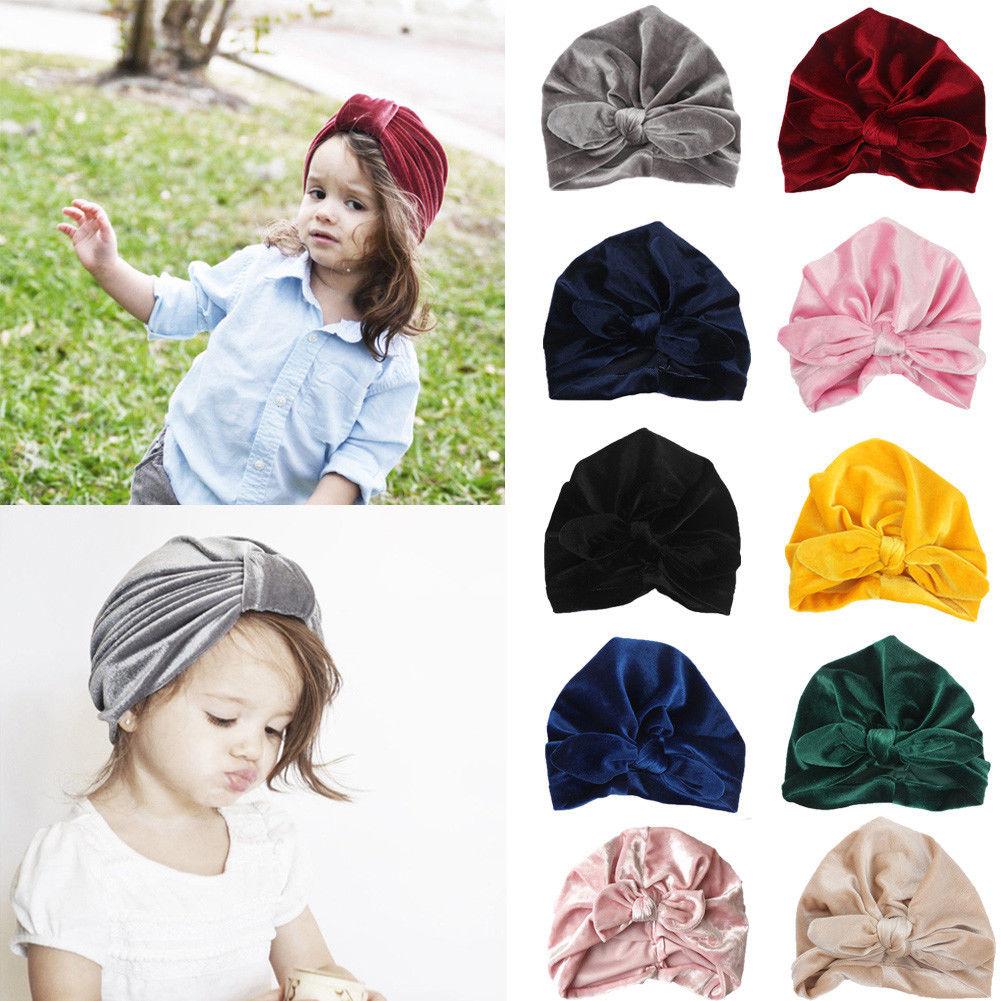 Newborn Toddler Kids Baby Turban Bowknot Hat Cotton Indian Cap Beanie Head Wrap