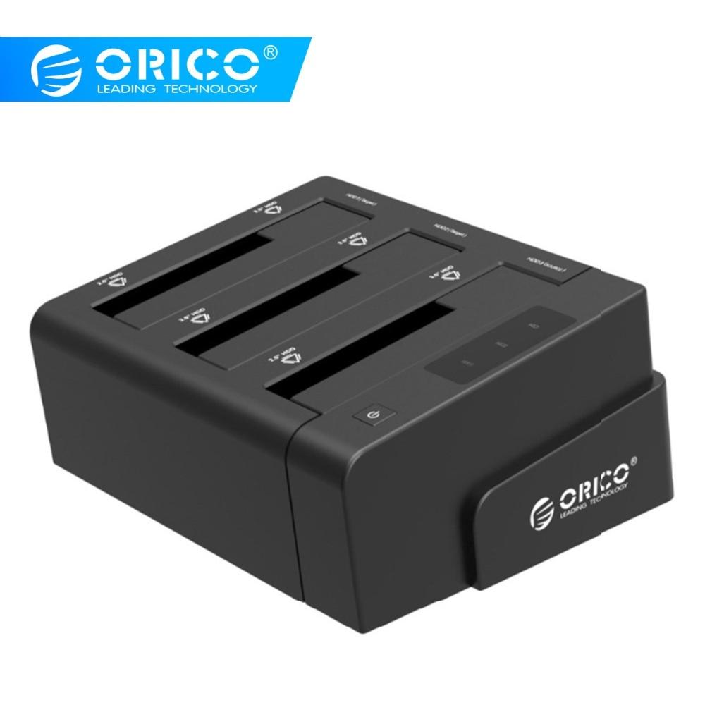 Station d'accueil ORICO 3 baies USB3.0 pour disque dur 2.5 3.5 pouces SATA Support de boîtier HDD Clone 18 to Max avec adaptateur secteur 12V4A
