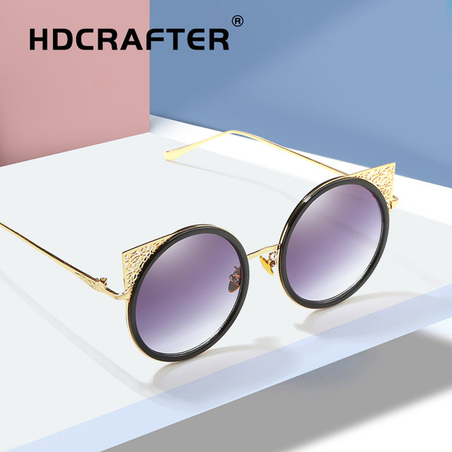 915489215ed HDCRAFTER round sunglasses women cat eye ladies sunglasses for women  fashion mirrored coating sun glasses female