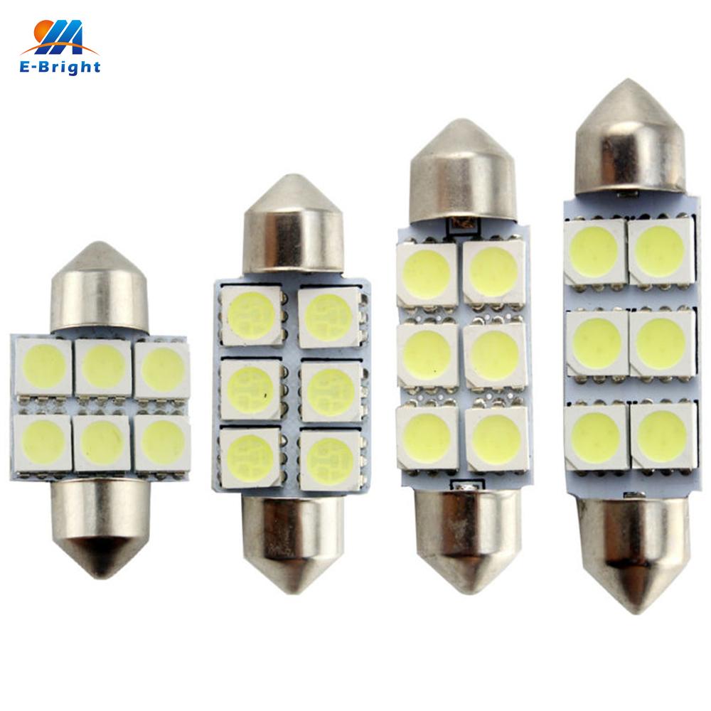 Prix pour 100 PCS C5W 5050 6 LED 31mm/36mm/39mm/41mm Feston Dôme LED Ampoules 6 SMD De Voiture Porte Lumière Plafonnier Toit Light Mix Taille