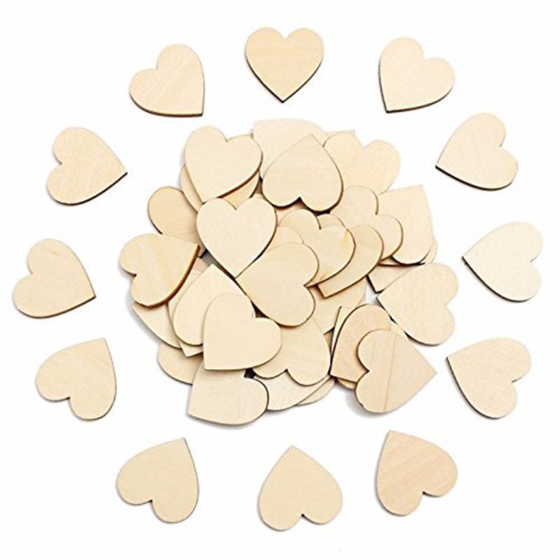 5pcs 100mm Wooden Heart Kids Birthday Party Supplies Diy Scrapbook Craft Wedding Decoration ValentineS Day