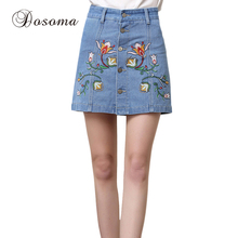 plus size 3xl summer short skirts womens american apparel flower embroidery denim skirt female mid waist blue jeans skirt
