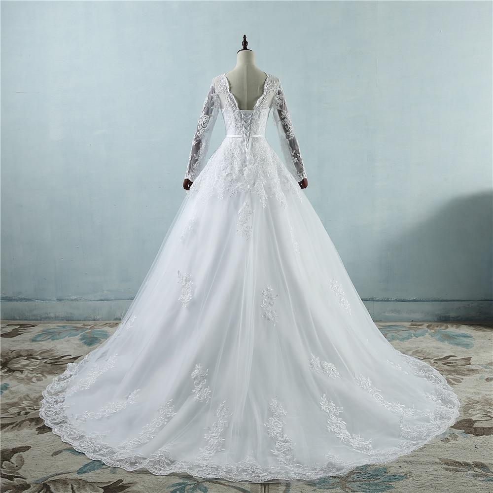 Sexy Braut Kleider Hochzeit Kleider Perlen Prinzessin Langarm Brautkleider Sheer Tüll Zurück - 3