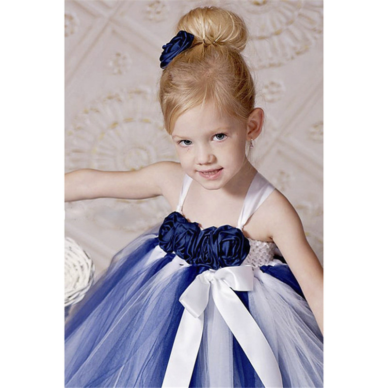 New Arrival Navy Blue and White Flower Girl Dress With Flower Headband Navy Blue Flower Girl Tutu Dress Girls Baby Dress navy monkey with smile