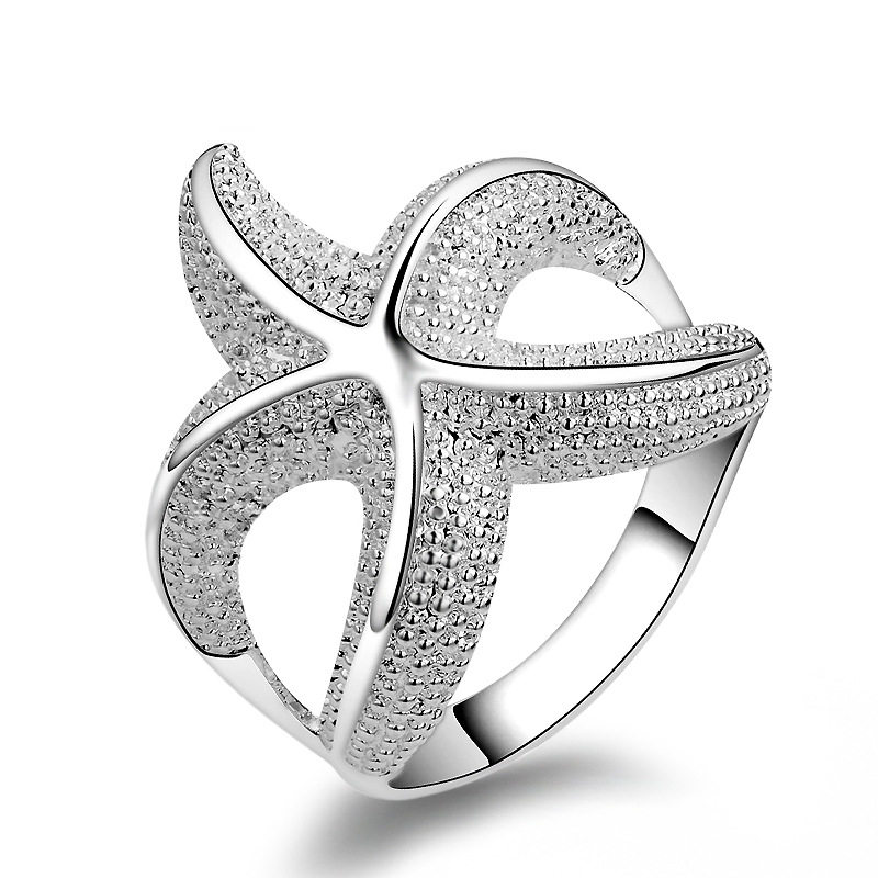Trendy Starfish silver color Ring For Women Charm Party Finger Jewelry Girls Gift Dropshipping Wholesale