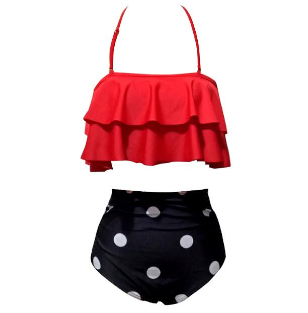 Sexy Swimwear Swimsuit women High Waist Bikini Ruffle Top bikini 2019 mujer Hot biquini Swimsuit Bandage Bottom bikini plisado