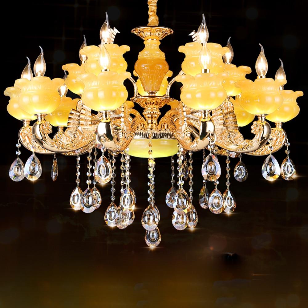 led e14 European Zinc Alloy Jade Crystal Chandelier LED Light LED Lamp For Foyer Bedroom Dinning Room Lounge Area Hotel Villa
