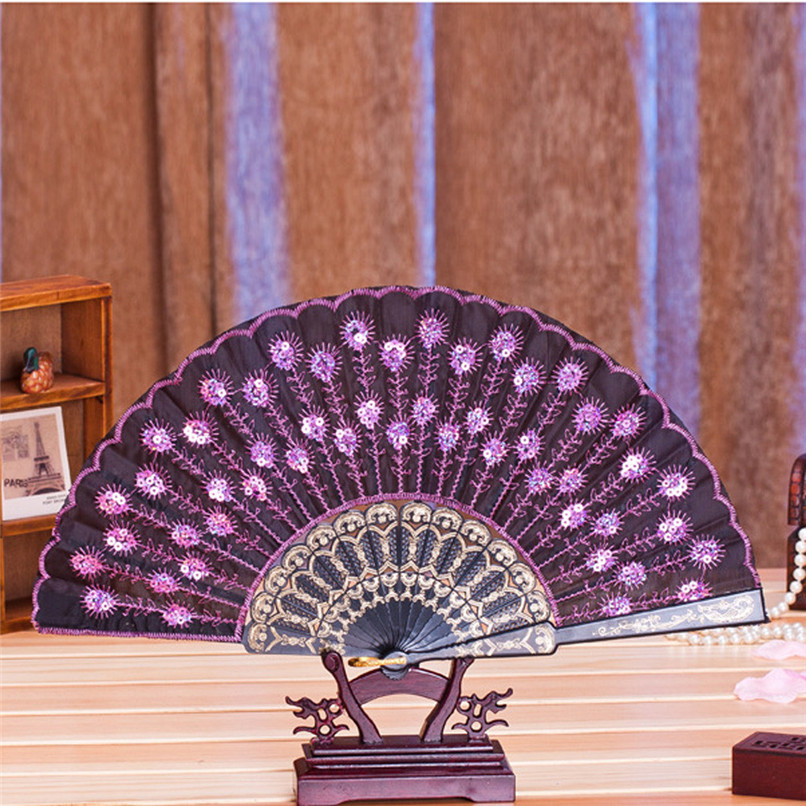 1PC Hand Fans Folding Peacock Pattern Embroidered Sequin Hand Held Chinese Fan Wedding Favors and Gifts abanicos de mano J14#3 (13)