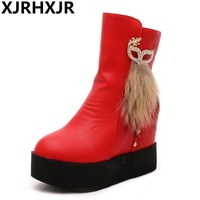 New Women S Ankle Boots Thick Platform High Heel Hidden Wedge Shoes Upper Fur Decoration Keep