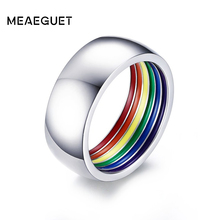 Meaeguet Inside Rainbow Ring For Men Stainless Steel Wedding 8MM Wide Gay Pride LGBT Jewelry