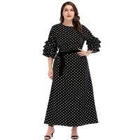 Autumn Women Dress New Plus Size 4XL Dot Print Long Boho Dress Frilled Medium Sleeve Ankle length Elegant Black Party Dresses
