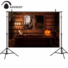 Allenjoy photographic backgrounds window pumpkin lantern dark night tree party wood backdrop photo studio photobooth photocall