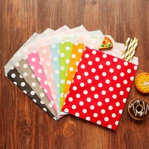 Image 5 - 25 adet teşekkür ederim Kraft kağıt torba renkli Polka nokta çizgili Chevron kağıt hediye çantası düğün şeker torbaları doğum günü hediyesi ambalaj