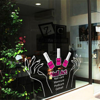 Nail Salon Art Vinyl Wall Decal Sexy Girl Hands Nail Polish Mural Wall Sticker Nail Shop Window Glass Sticker Decoration