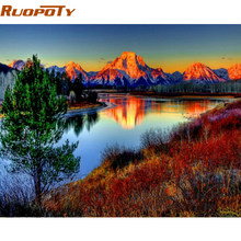 RUOPOTY Frame Mountain DIY Painting By Numbers Modern Home Wall Art Acrylic Paint On Canvas Hand Painted Oil Painting 40x50cm(China)
