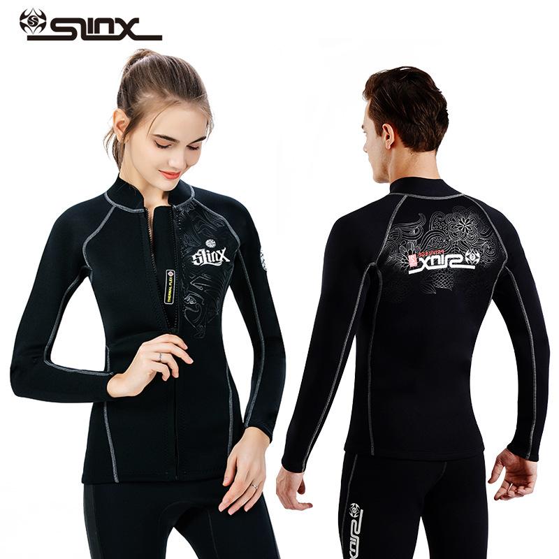 70cae2371fca9 SLINX 2mm neoprene wetsuit jacket pant for men diving snorkeling jacket  swimming surfing top clothes