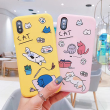 Lovely Candy Color Cartoon Cat Phone Case For iphone XS Max XR X 6S 6 7 8 Plus Back Cover Capa pink matte case