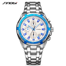 SINOBI Relogio Masculino Chronograph Mens Watches Brand Luxury Fashion Business Quartz Watch Man Sport Waterproof Wristwatch N04