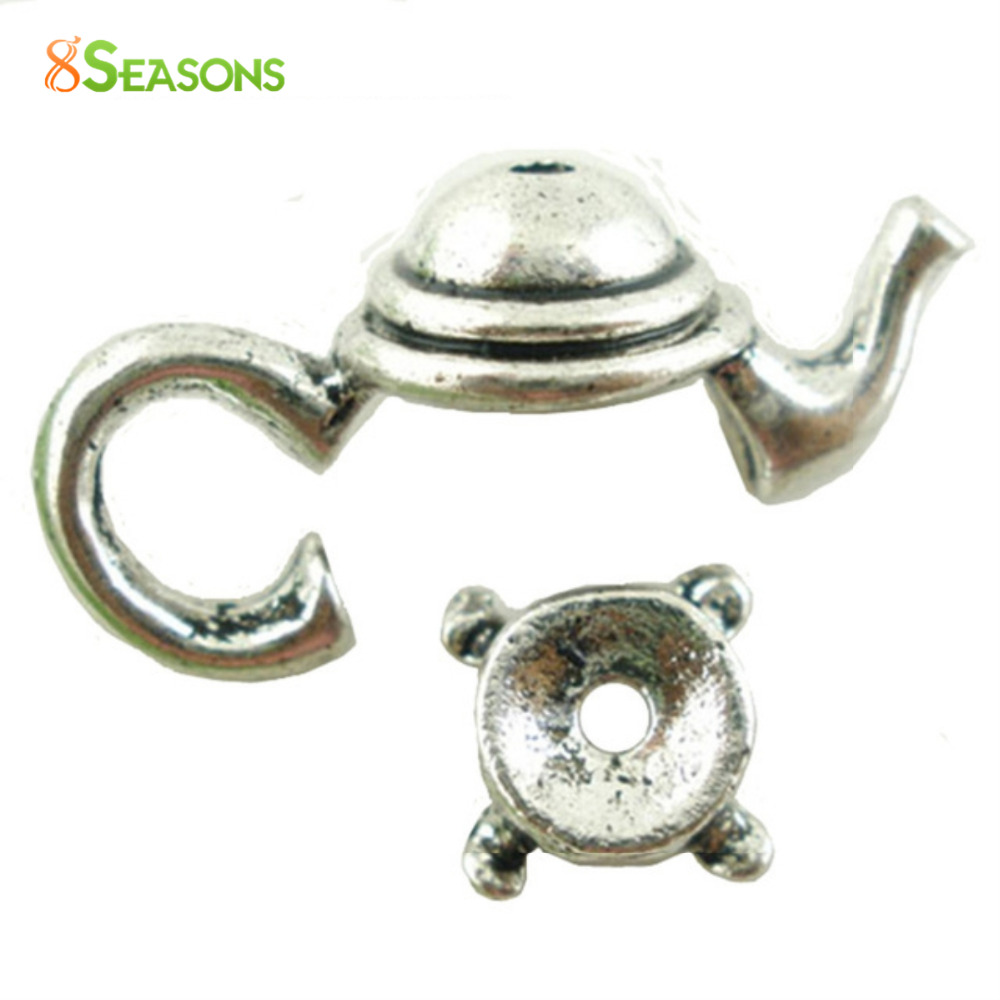 8SEASONS 2016 Hot Sale Jewelry Components 10 Sets Silver Color/Golden Color Teapot Bead Caps Jewelry Findings 21x9mm 7x3mm